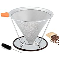 Pour Over Coffee Filter, Cone Coffee Dripper, Stainless Steel Double Mesh Pour-Over Coffee Maker Paperless with Separate Stand Cleaning Brush, for 1-4 Cups