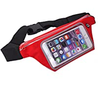 King of Flash Sweatproof [Red] Sports Running, Jogging, Marathon Fanny Pack Bum Waist Bag Phone Carrier Belt with Transparent Touch Screen Window for Mobile Smartphones Upto 4.7""