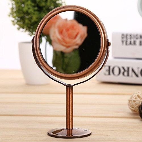 Kosmetikspiegel doppelseitig Desktop Spiegel 10 * 16,5 cm, rot Kupfer Runde