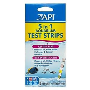 Api Test de Qualité D'eau pour Aquariophilie 5 en 1 Test Strips 4 Bandelettes