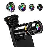 AFAITH Kit de lentes de cámara HD universales 5 en 1 Lente de teléfono celular, Gran Angular Gran Angular Telescopio Lente Teleobjetivo Super Gran Angular Lente de Cámara para iPhone XS XR 8 7