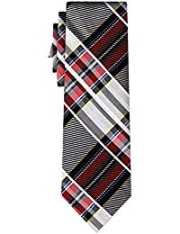 cravate soie tartan pattern silver w red