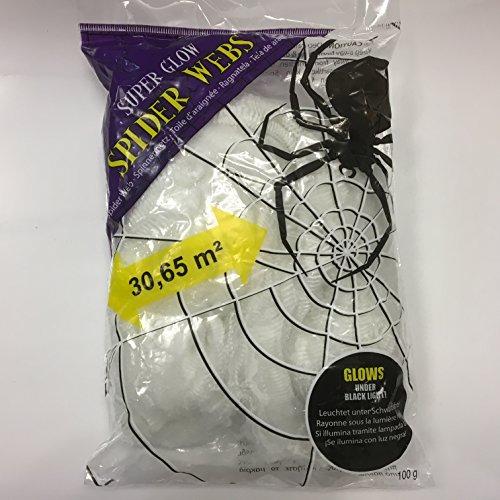 Leuchtet Spinnennetz Halloween (Spinnengewebe * Super Glow Spider Webs * Spinnennetz für Party und Geburtstag // Halloween Kinder Geburtstag Party Fete Set Horror Spiderweb)