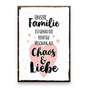 holzschild mit spruch familie chaos liebe shabby chic retro vintage nostalgie deko. Black Bedroom Furniture Sets. Home Design Ideas