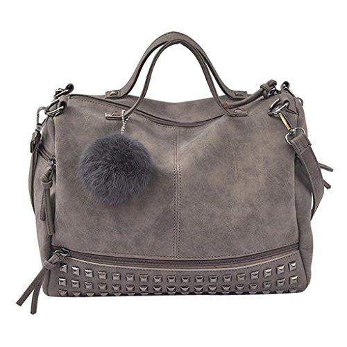 VJGOAL Damen Schultertasche, Frauen Mädchen Mode Große Kapazität Niet Handtasche Große Tote Satchel Schulter Reisetasche Frau geschenk (32 * 14 * 24cm, Grau)
