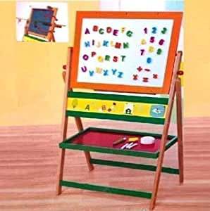 WOODEN STANDING MAGNETIC BLACKBOARD WHITEBOARD CHALKBOARD CHILDRENS ART EASEL