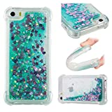iPhone 5S SE Case, Awesome Glitter Flowing Floating Love Heart Paillettes Quicksand Slim Cover, TAITOU Cool Liquid Moving Clear Ultralight Thin Phone Case for iPhone5S SE Green