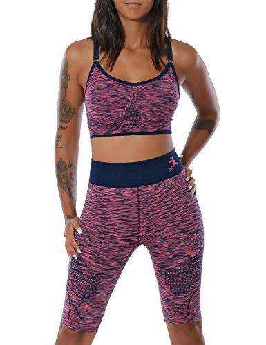 Damen Yoga Sport-Set Fitness Push-Up BH mit Hot-Pants (weitere Farben) No 14030, Farbe:Lila;Größe:S / M