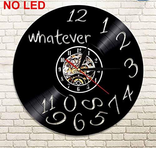 Menddy was Auch Immer Ich Bin Spät Sowieso Geführt Vinyl Uhr Wandleuchte Vintage Hintergrundbeleuchtung Moderne Lp Handgefertigte Geschenk Dekor Lampe Fernbedienung Kein Led-Licht 12 Zoll -