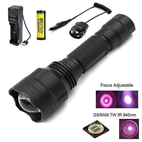 940nm IR Jagd Taschenlampe, IR Illuminator, Nachtjagd, Infrarot Licht, Zoom möglich, 38mm Linse, Infrarot Licht ist unsichtbar für menschliche Augen, für Jagd und Nachtsichtgerät