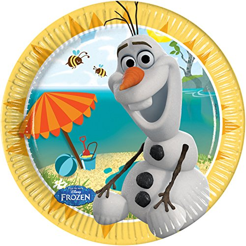Party Teller, 8 Stück mit Sommer Olaf (Frozen Olaf Party Supplies)