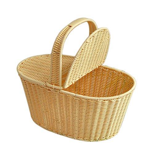 Picknickkorb für 2Personen Woven mit Deckel-Home Aufbewahrungskorb für Wäsche Fruit Magazin Bücher und Mehr Beige -