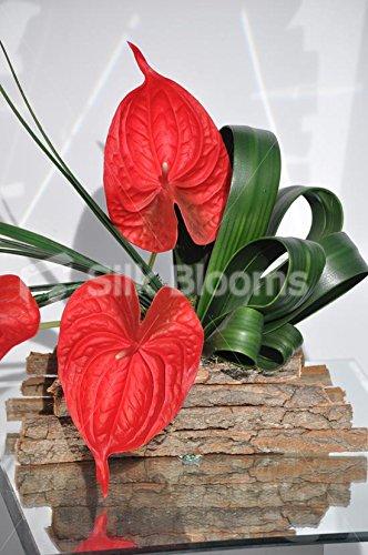 Artistic rot Kunstblumen Anthurium, Blumen-Arrangement, Bär, gras grün