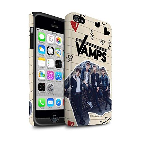 Officiel The Vamps Coque / Matte Robuste Antichoc Etui pour Apple iPhone 4/4S / Pack 5Pcs Design / The Vamps Livre Doodle Collection Stylo Noir