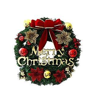 AirintheMoon Frente Corona de Navidad Feliz Navidad Puerta con la Guirnalda de Pino Cono Rojo del Arco y Las Campanas perfecciona para el Interior o el Exterior de la decoración de Navidad