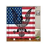 KnSam Duschvorhang Anti-Schimmel Wasserdicht Badewanne Vorhange Bad Vorhang für Badezimmer Amerikanische Flagge 100% PEVA inkl. 12 Duschvorhangringen 150 x 180 cm