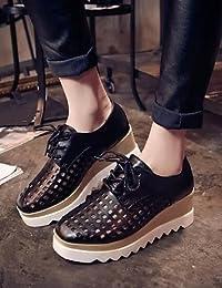 NJX/ 2016 Zapatos de mujer - Tacón Plano - Mary Jane - Oxfords - Exterior / Casual - Semicuero - Negro / Rojo , black-us8 / eu39 / uk6 / cn39 , black-us8 / eu39 / uk6 / cn39