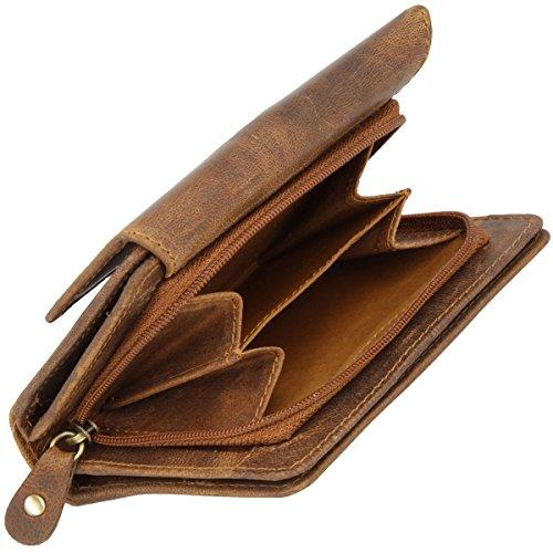 Original Monte Lovis - Echt Leder Geldbörse Herren Portemonnaie Geldbeutel mit vielen Taschen und Kartenfächern (Dunkelbraun) Braun