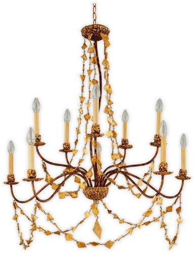 Flambeau Mosaic10 Gold Mosaic Classic 10 Light Chandelier with Mosaic Jewel Detail