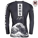 Tatami Rashguard Kanagawa Schwarz - Langarm - Kompressions Shirt mit 4-Wege Stretch für Jiu Jitsu, Fitness, Grappling und MMA - Herren Rash Guard (XL)