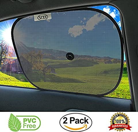 Car Sun Shade (Pack of 2 Black) Fits Front And Rear Windows For Maximum UV Protection, Mesh, Foldable, Flexible Adjustable Lightweight Screen , Easy Storage With Bonus Set Of Suction Cups, Suitable for Toddlers, Babies, Kids and Pets