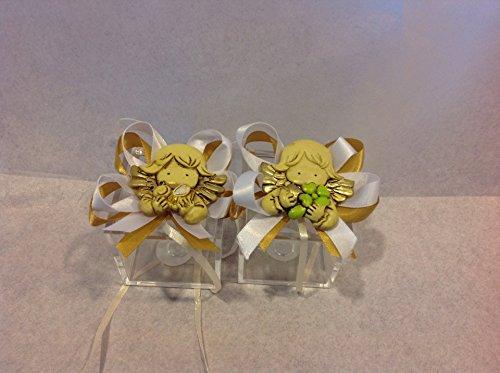 Cuorematto bomboniera solidale scatola plex 5x5x5 con magnete angelo femmina quadrifoglio ape