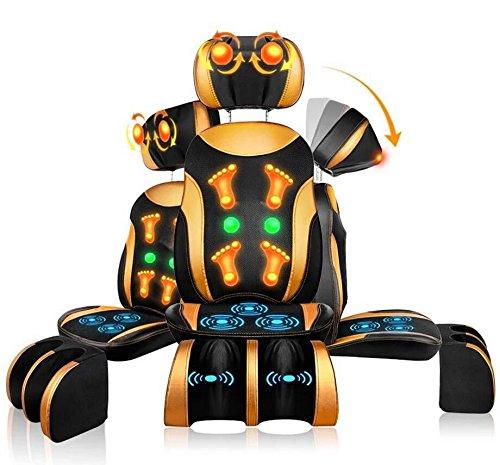 Shiatsu -massagesitzauflage mit kneten vibrationsmassage und wärmefunktion für nacken komplett rücken gesäß bein,der winkel und die höhe der kopfstütze einstellbar, trennbar