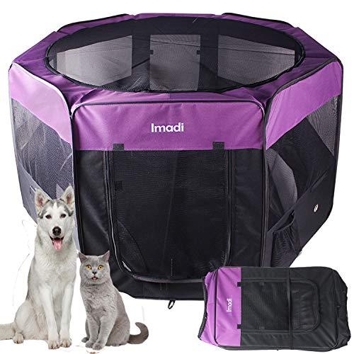 KaKa Mall Welpenlaufstall für Hunde Faltbar Laufstall Hund Waschbar Tierlaufstall für Hunde Katzen 8 Plattens(XL,Lila)