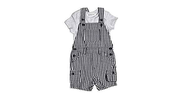 Baby Boys 2 Piece Woven Gingham Dungaree Shorts /& Bodysuit Outfit 0-3 3-6 Months
