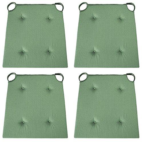 sleepling 4er Set Stuhlkissen/Sitzkissen für Indoor und Outdoor, Maße: 42 (vorne) / 35 (hinten) x 40 x 5 cm, grün