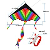 Rainbow Kite, Finer Shop Outdoor Sky Dancer Toy Kite Triangle Flying Colorful Kite for Kids and Adults - Outdoor Games Activities Toys - 50m/164feet Kite Line