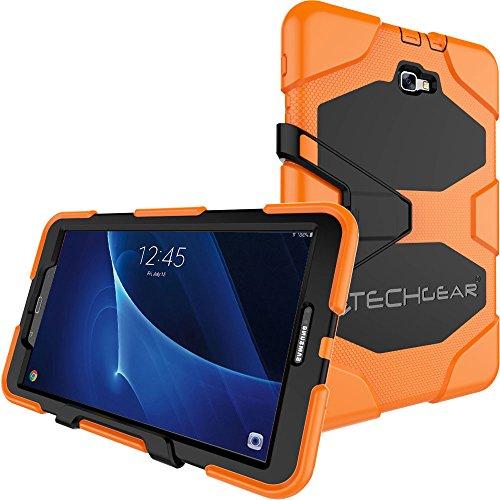 TECHGEAR Schutzhülle für Samsung Galaxy Tab A 10.1 Zoll 2016-2018 (SM-T580 Serie) Heavy Duty Robuste Schutzhülle Design mit abnehmbaren Ständer Schule, Kids, Bauunternehmer Fall - Orange