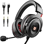 EKSA E900 USB Gaming Headset-Xbox One Headset with 7.1 Surround Sound, PS4 Headset Noise Cancelling Headset wi
