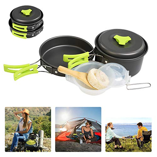 BelleStyle 9 Pcs Camping Cookwar...