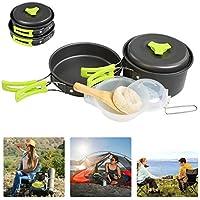 BelleStyle 10 Pcs Camping Cookware Mess Kit - Backpacking Hiking Outdoor Picnic Cooking Gear - Bowls Utensil Pot Pan Set -Bag Cooking Equipment Cookset - Lightweight, Compact, Durable Pot Pan Bowl