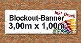 Premium Banner 900g/m² | Werbebanner / Werbeplane | 3m x 1m | blickdicht | inklusive Ösen | brillanter Druck - besonders stabil - wetterfest | einseitig mit Ihrem Motiv bedruckt