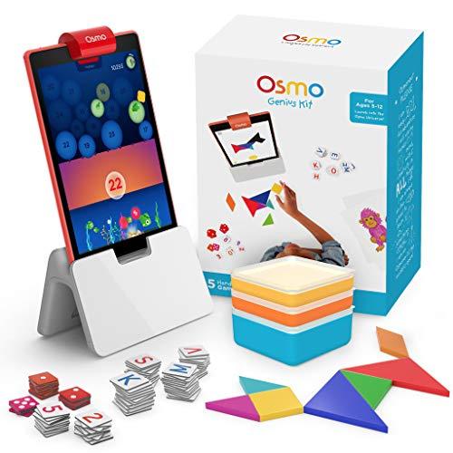 OSMO Genius Kit 5 Praxisorientierte Lernspiele-Alter 6-10-Mathematik, Rechtschreibung, Problemlösung und Kreativität-Mint Basis für Fire Tablet Inbegriffen