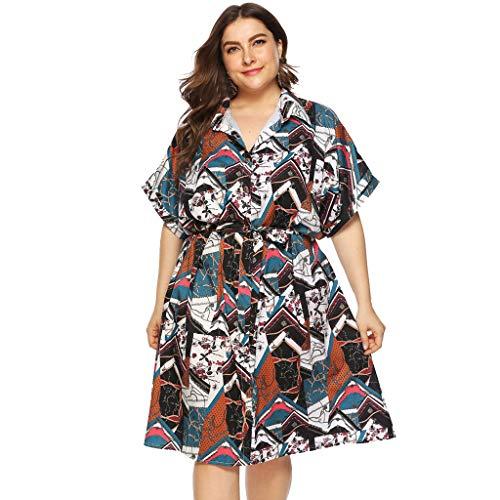 Runde Kostüm Muster Ball - Moda Kleid Bohemian Summer Woman Large Size Blumendruck, V-Ausschnitt Kurzarm Maxi Abendkleid Größe L-5XL