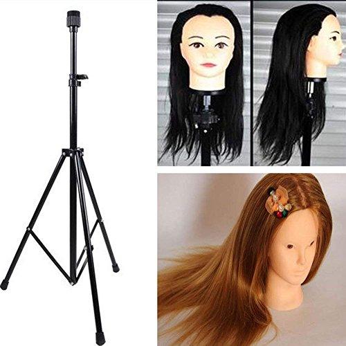 Maniquí soporte, gran soporte de metal peluca cabeza maniquí soporte para trípode para peluquería formación con bolsa de transporte, altura ajustable de 80-160cm