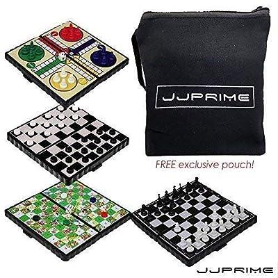 JJPRIME WSS - 4 en 1 échecs / Ludo / Serpent Et échelle / Jeu DE Dames / magnétiques de Voyage Jeu de société