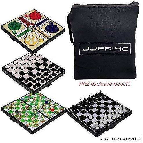JJPRIME WSS - 4 en 1 échecs / Ludo / Serpent Et échelle / Jeu DE Dames / magnétiques de Voyage Jeu de société | Coût Modéré