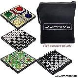 JJPRIME WSS - 4 en 1 AJEDREZ/Ludo/Serpiente Y Escalera / Damas/Magnético Viaje Juego de Mesa