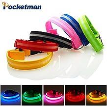 Collar de Perro LED,Pocketman LED Collar de Perro de Seguridad Collar Nocturno Luz Intermitente,Azul,Hace que su Mascota Sea Visible, Segura y Vista