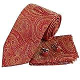 PH1045 amarillo-naranja Paisleys patr¨®n de tejido de seda Corbata para hombre corbata Gemelos Pa?uelos Set con caja de regalo Set Por Epoint