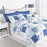 Gran nudo plata Rango Mayfair–Funda de edredón de conjuntos, fácil cuidado polialgodón, 50% algodón/50% poliéster, azul, King 230 x 220 cm
