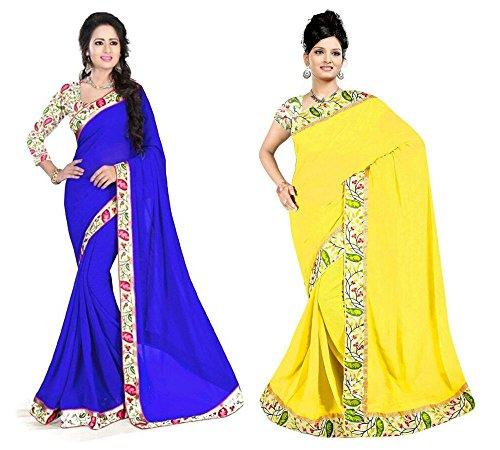 Aashi Saree Exclusive Combo Of Plain Chiffon Lacy Border Sarees (Blue & Yellow)