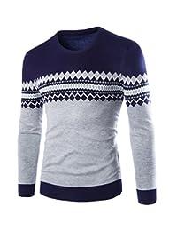 WSLCN Homme Pull Tricoté Manche Longue Motif de Aztèque Sweater