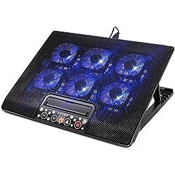 SOQEEN Laptop Cooler, 12-17 Pouces Gaming Laptop Refroidisseur Portable Ultra-Slim 6 Grands Ventilateurs Calme Pad de Refroidissement pour Ordinateur Portable (Noir)