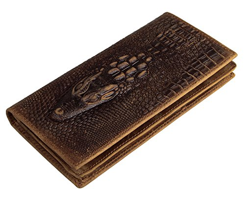 Everdoss Mens Bifold Wallet Clutch Genuine Leather Purse Card Holder with Crocodile Pattern Brown (Clutch Crocodile)