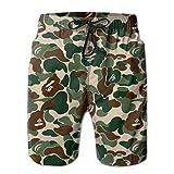 yting Herren Bape Ape Camo Grün Badehose Strand Shorts Hose mit Mesh-Futter Taschen für Papa,Größe M